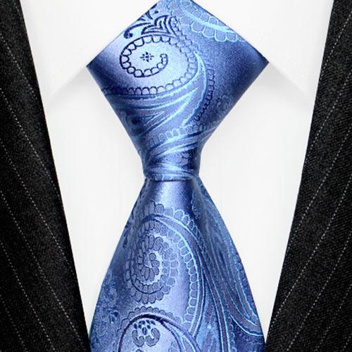42048 LORENZO CANA Trend Luxuskrawatte aus Seide blau hellblau Paisley
