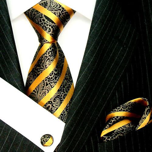 4205005 LORENZO CANA Krawatte Einstecktuch Manschettenknöpfe Tie Set