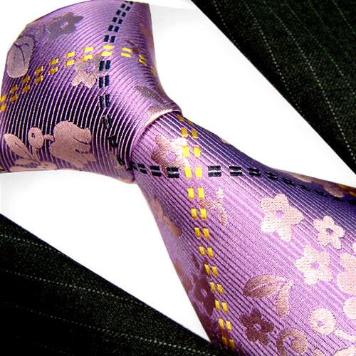 42051 Floral Barock Blume Krawatte Seide LORENZO CANA Flower Silk Tie
