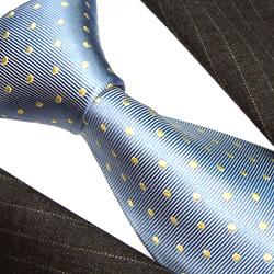 42061 blau hellblau Krawatte aus Seide mit gelben Punkten LORENZO CANA