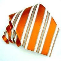 77008 LORENZO CANA Krawatte Streifen Seide Weiss Orange Silk Necktie