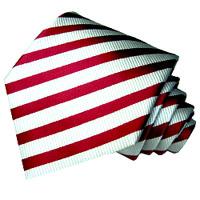 77038 LORENZO CANA rot weiss Krawatte aus Seide Streifenkrawatte