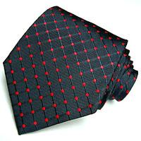 77048 blaue Krawatte rote Punkte 100% Seide LORENZO CANA Necktie Blue Red