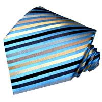 77058 LORENZO CANA Streifen Krawatte blau braun Seide イタリアのシルクネクタイ