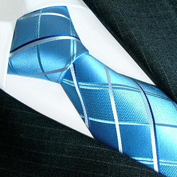 77076 Blaue karierte Krawatte LORENZO CANA Karobinder галстук шелка