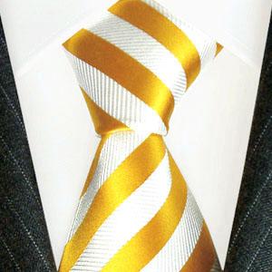 77093 gelb weiss Streifen Krawatte Seide Silk Neck Tie LORENZO CANA