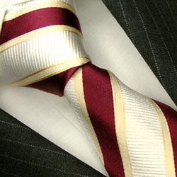 77102 LORENZO CANA rot rotbraun creme Streifen Krawatte Seide Streifen