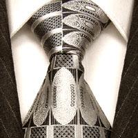 77110 LORENZO CANA Krawatte 100% Seide Barockmuster silber grau