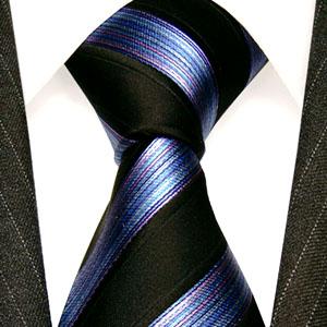 77117 Schwarz lila violett Krawatte 100% Seide Streifen LORENZO CANA