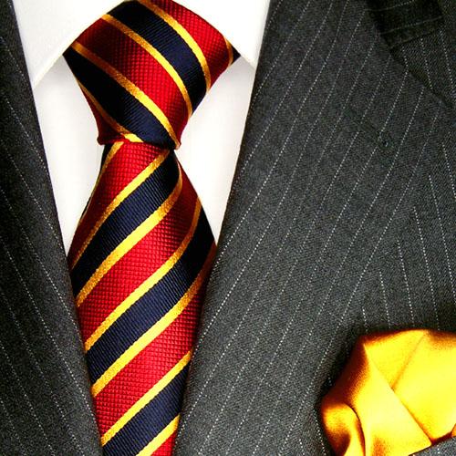7712601 LORENZO CANA Silk Krawatte rot blau gold Streifen Einstecktuch