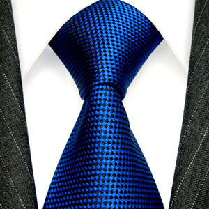 77133 LORENZO CANA Luxuskrawatte blau schwarz kleine Karos Seide NEU
