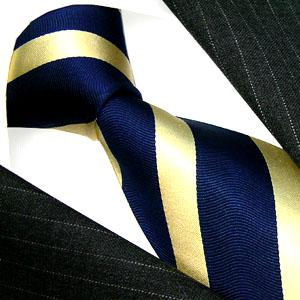77139 LORENZO CANA Krawatte gestreift blau gold Blockstreifen Seide
