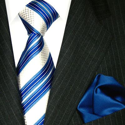 7714001 LORENZO CANA Krawatte Stecktuch blau weis gestreift 100% Seide