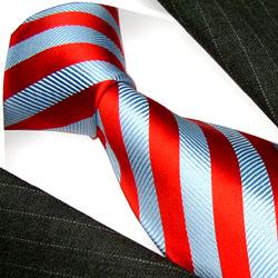 77155 LORENZO CANA rot blau gestreifte Krawatte Seide Streifenschlips