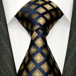 77156 LORENZO CANA Krawatte 100% Seide Karomuster Blau Bronze Braun