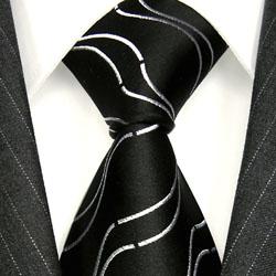 77161 LORENZO CANA Design Krawatte 100% Seide Schwarz Weisse Wellen