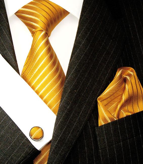 8402505 LORENZO CANA Set Krawatte Einstecktuch Manschetenknöpfe Tieset