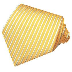 84035 LORENZO CANA Krawatte gelb weiss längst Streifen Yellow Silk Tie
