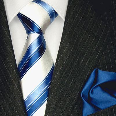 LORENZO CANA - blau weiss gestreifte Luxuskrawatte mit Einstecktuch