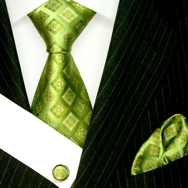 8405905 LORENZO CANA Apfelgrüne Karo Krawatte Tuch Manschettenknoepfe