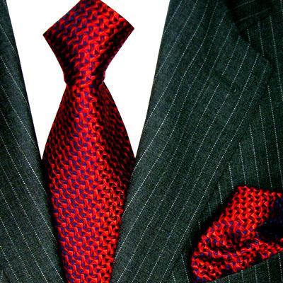 8406301 LORENZO CANA Rote Seide Krawatte + Einstecktuch Red Neck Tie