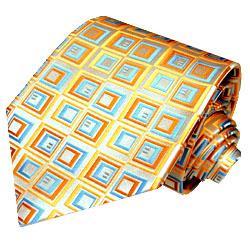 84074 LORENZO CANA Karo Luxus Krawatte aus Seide Blau Gold Ocker Creme