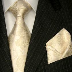 84310 LORENZO CANA Krawatte + Stecktuch Seide creme ivory Hochzeit