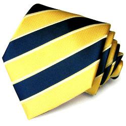 84109 LORENZO CANA Krawatte Seide gelb blaue diagonale Blockstreifen