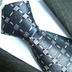 84118 LORENZO CANA Krawatte Blaugrau Weiss Karos Seide イタリアのシルクネクタイ