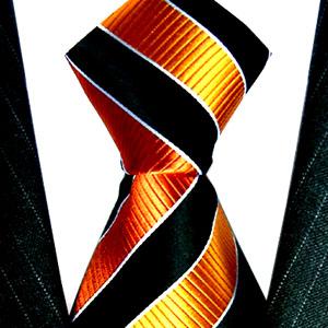 84135 orange schwarz Streifen Schlips Seide LORENZO CANA галстук шелка