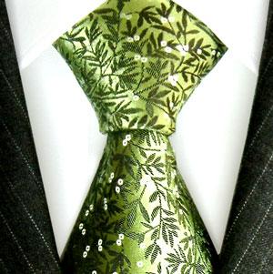84154 Floral Blumen Krawatte Grün Seide LORENZO CANA Green Neck Tie