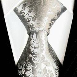 84156 Barock Krawatte Silber Grau Silbergrau 100% Seide LORENZO CANA