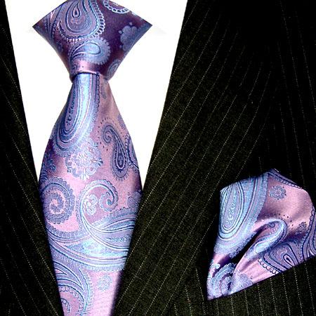 8416802 Violett Lila LORENZO CANA Paisley Krawatte + Tuch 100% Seide