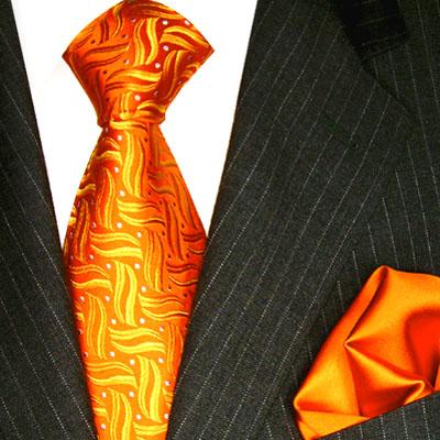 8416901 Orange LORENZO CANA Krawatte Seide Einstecktuch Neck Tie Set