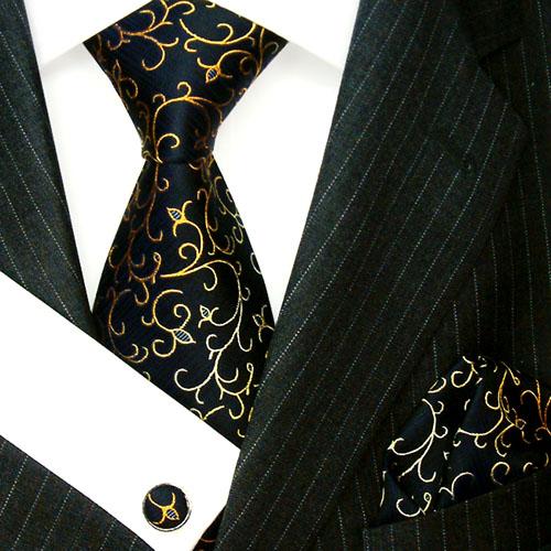8417205 LORENZO CANA schwarz blau gold Krawatte Tuch Manschettenknöpfe