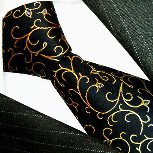 84172 LORENZO CANA Krawatte schwarz gold floral Ranken 100% Seide Tie