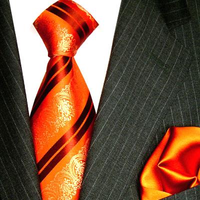8417801 LORENZO CANA Orange Rot Gold Krawatte Seide Einstecktuch Tuch