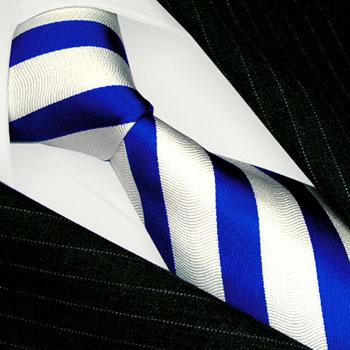 84183 LORENZO CANA Krawatte Blockstreifen Blau Weis Seide Silk Necktie