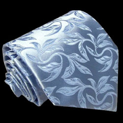 84186 Hellblaue Floral Barock Blume Ranken Krawatte Seide LORENZO CANA