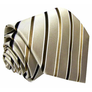 84188 Streifen Krawatte Seide braun beige mocca LORENZO CANA 意大利真丝领带