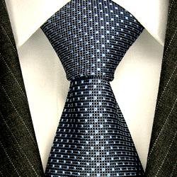 84190 LORENZO CANA Krawatte blau graublau Punkte Karos Seide Blue Tie