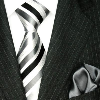 8419401 LORENZO CANA Krawatte Tuch silber grau weiss schwarz Streifen