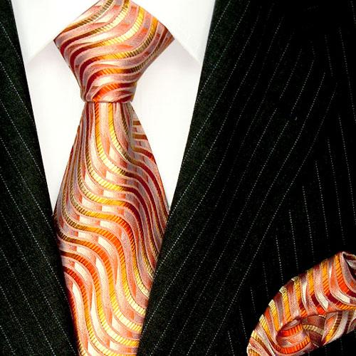 8420101 LORENZO CANA Orange Krawatte Seide Einstecktuch Tuch Wellen