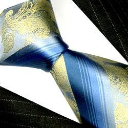 84204 Blau Gold Grün Krawatte 100% Seide Schlips LORENZO CANA Silk Tie