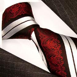 84214 LORENZO CANA Krawatte Streifen Barock rot creme schwarz Seide