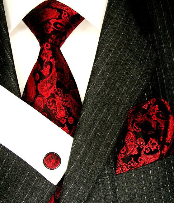 8421705 LORENZO CANA Krawatte Einstecktuch Manschettenknöpfe Seide Rot