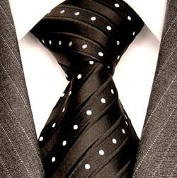 84221 LORENZO CANA Schwarze Krawatte Seide Weise Punkte Black Neck Tie