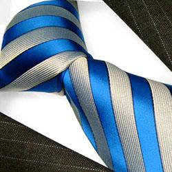 84222 LORENZO CANA Blau Grau Streifen Krawatte 100% Seide gestreifet