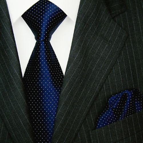 8422901 LORENZO CANA Krawatte mit Einstecktuch Punkte Dunkelblau Weiß