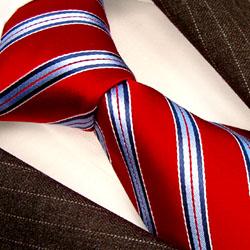 84234 LORENZO CANA Business Krawatte rot blau Streifen Red Neck Tie